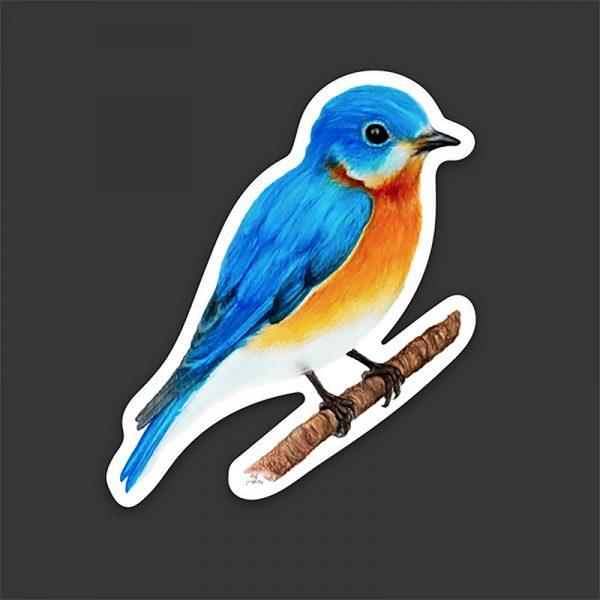 Eastern Bluebird of Happiness Sticker, waterproof vinyl decal. Spread Love, joy, & happiness. Perfect gift for Bird Lovers